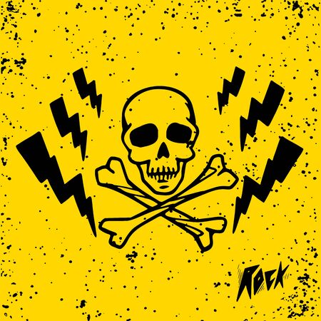 Punk rock music. skull and lightnings on yellow background. vector illustration Stock Illustratie