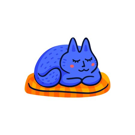 Pet grooming concept. Blue cat sleeping on a pad. Cat care, grooming, hygiene, health. Pet shop, accessories. Flat style vector illustration on white background.