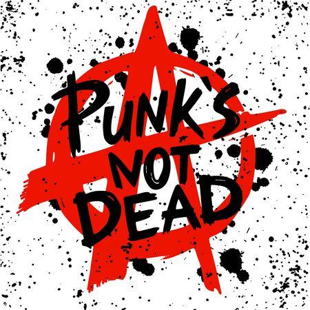 Punk rock set. Punks not dead words, anarchy symbol and design elements. vector illustration