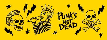 Punk rock set. Punks not dead words and design elements. vector illustration. horizontal design
