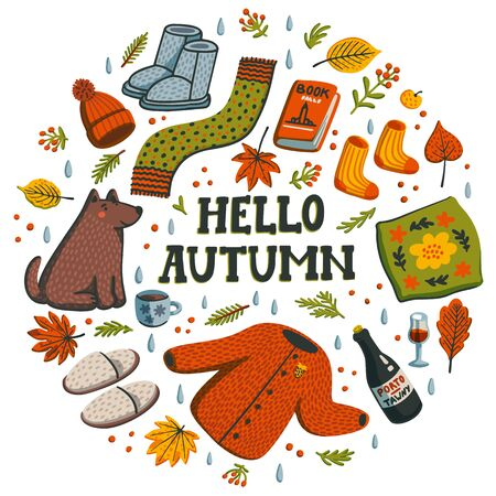 Hello autumn circle composition. Autumn essentials warm clothes, berries and leaves, book, all for warm atmosphere. Fall season elements on white background. Flat style hand drawn vector illustration Stock Illustratie