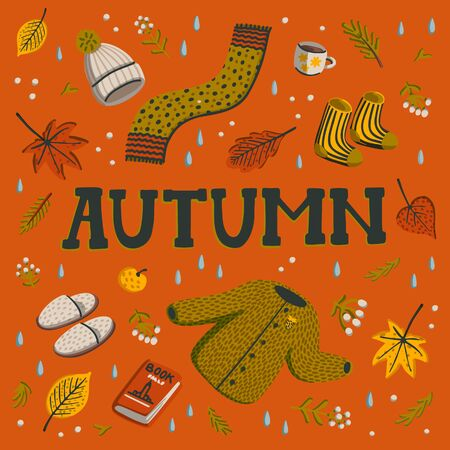 Hello autumn. Collection of fall season elements. Autumn greeting card with cozy home items for autumn season. Flat style hand drawn vector illustration. Stockfoto - 131961918
