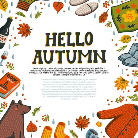Hello autumn. set of autumn essentials warm clothes, pillow, Porto, autumn berries and leaves, book, and cute dog for warm atmosphere. Collection of fall season elements. Autumn greeting card with cozy home items for autumn season. Flat style hand drawn vector illustration Stock Illustratie