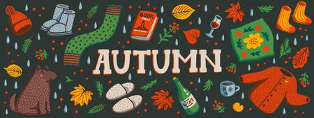 Autumn horizontal banner or social media cover. Autumn essentials warm clothes, autumn berries and leaves, book, ets. Fall season elements on dark background. Flat style hand drawn vector illustration Stock Illustratie