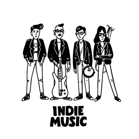 Indie rock music band. Black and white illustration of musicians wearing leather jackets. Template for card, poster, banner, print for t-shirt, pin badge patch. Vector illustration on white background