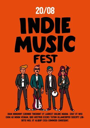 Indie music festival poster or flyer template. Illustration of musicians and and indie rock fest inscription on red background. Template for banner, card, poster. Vector Illustration