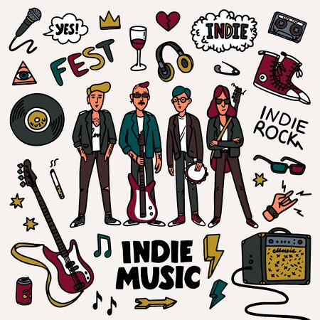 Indie rock music set. Illustration of musicians and related objects such as guitar, sound amplifier, rock inscriptions. Template for banner, card, poster, t-shirt print, pin badge patch. Vector