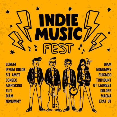 Indie music festival poster or flyer template. Illustration of musicians and and indie rock fest inscription on yellow background. Template for banner, card, poster. Vector
