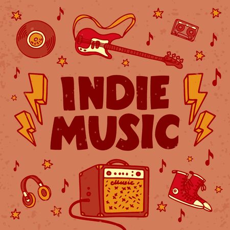 Indie music festival poster or flyer template. Illustration of music related objects such as guitar, sound amplifier, indie rock inscription. Template for banner, card, poster, flyer. Vector