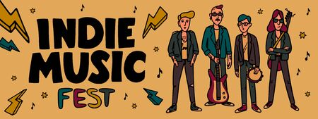 Indie music festival horizontal banner or cover template. IIllustration of musicians and and indie rock fest inscription. Template for banner, card, poster. Vector