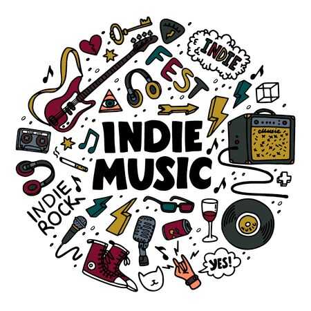 Indie rock round composition. Color illustration of music related objects such as guitar, sound amplifier, rock inscriptions. Template for card, poster, t-shirt print, pin badge patch. Vector