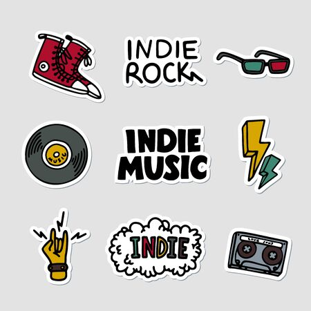 Indie rock music sticker set. Illustration of music related objects and inscriptions. Template for t-shirt print, pin, badge, patch. Vector Illustration