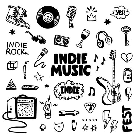 Indie rock music tatoos set. Black and white illustration of music related objects such as guitar, sound amplifier, rock inscriptions. Template for tattoo list, card, poster, t-shirt print, pin badge patch. Vector
