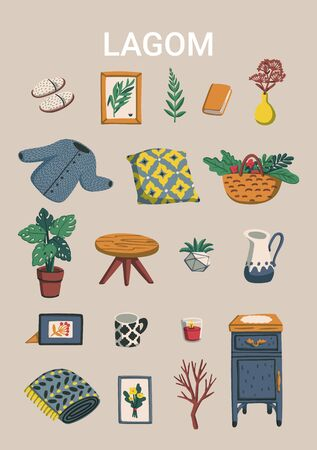 Lagom. Concept of Scandinavian lifestyle. Poster with lagom lettering and cozy home things like pillow, plants, furniture. Colorful flat vector illustration
