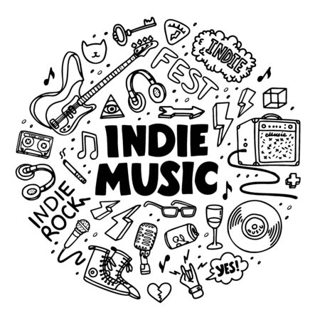 Indie rock circle composition. Black and white illustration of music related objects such as guitar, sound amplifier, rock inscriptions. Template for tattoo list, card, poster, t-shirt print, pin badge patch. Vector
