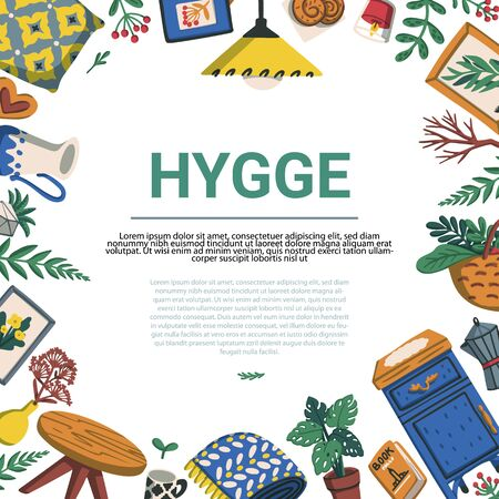 Hygge. Scandinavian lifestyle frame template. Illustration cozy home things like pillow, plants, furniture and copyspace. Lagom. Colorful flat vector illustration