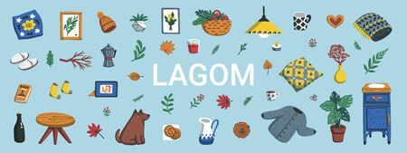 Lagom. Concept of Scandinavian lifestyle. IHorizontal banner with lagom lettering and cozy home things like pillow, plants, furniture on blue background. Colorful flat vector illustration