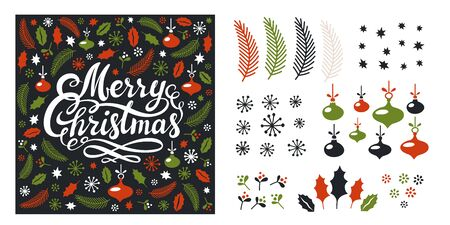 Set of Christmas elements. Greeting card template, merry Christmas lettering, fir branches, leaves, snowflakes, balls on white background. Flat style christmas elements. Vector illustration