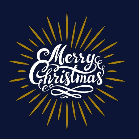 Merry Christmas hand lettering. White and gold on dark background. This illustration can be used as a greeting card, poster or print. Vector illustration. Stock Illustratie