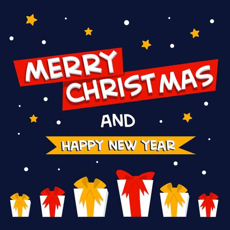 Merry christmas and happy new year greeting. Xmas greeting card. Flat style vector illustration.