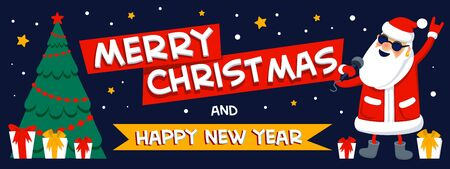 Merry christmas and happy new year greeting. Singing Santa Claus - rock star with merry christmas inscription on dark background. Xmas horizontal banner or cover. Flat style vector illustration.