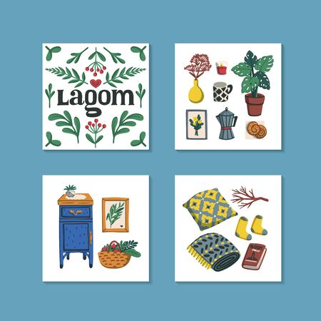 Lagom. Concept of Scandinavian lifestyle. Mini cards with lagom lettering and cozy home things like pillow, plants, furniture. Colorful flat vector illustration