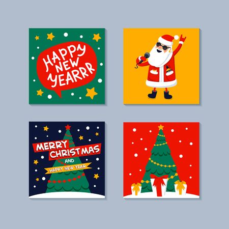 Happy New year mini greeting card. Singing Santa Claus, gifts, christmas tree and happy new year inscription on a speech bubble. Xmas greeting card. Flat style vector illustration.