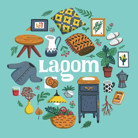 Lagom round composition. Concept of Scandinavian lifestyle. Illustration with lagom lettering and cozy home things like pillow, plants, furniture. Colorful flat vector illustration Stock Illustratie