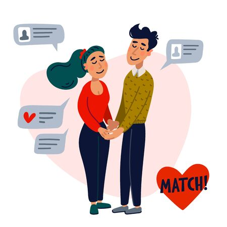 Online dating concept. Girl and boy holding hands surrounded by chat messages. Flat style vector illustration