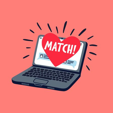 Online dating concept. Laptop with online dating application on the screen. Heart with match inscription on a computer screen. Flat style vector illustration