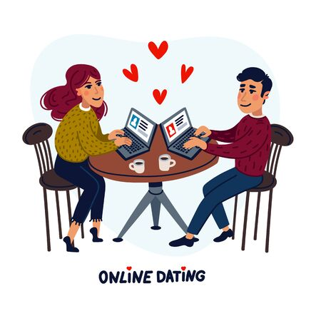 Online dating concept. Happy couple sitting in a cafe with laptops. Young man and woman searching for love with an online application. Flat style vector illustration