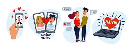 Online dating set. Dating couples, mobile app, notebook, Young man and woman searching for love with a Mobile phone application. Flat style vector illustration