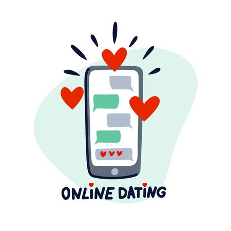 Online dating concept. Dating application, mobile phone with chat and hearts. Flat style vector illustration Stock Illustratie