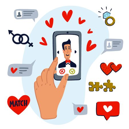 Online dating concept. set of dating app icons, and hand swiping pictures on the phone screen. Mobile phone application. Flat style vector illustration. Stock Illustratie