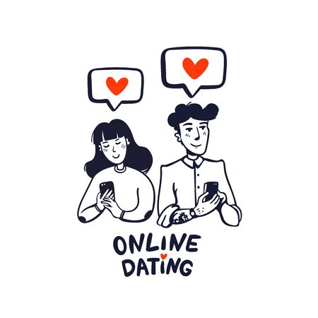 Online dating. Young man and woman searching for love with a Mobile phone application. Flat style vector illustration