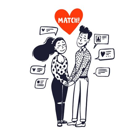 Online dating concept. Girl and boy holding hands surrounded by chat messages. Doodle style vector illustration