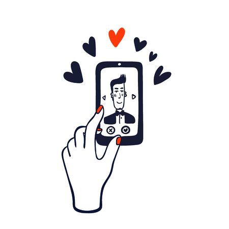 Online dating service. Hand swiping photos of men on the phone screen. Stock Illustratie