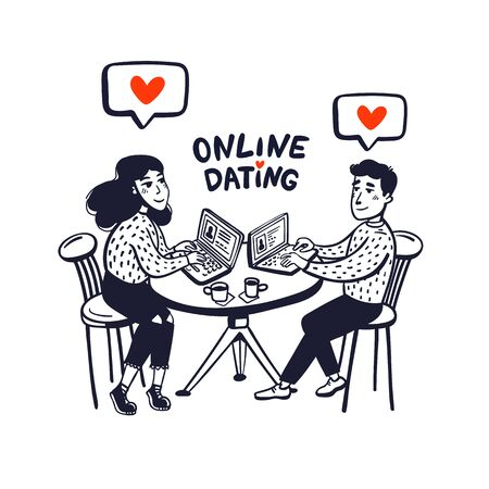 Online dating concept. Happy couple sitting in a cafe with laptops. Young man and woman searching for love with an online application. Doodle style vector illustration Stock Illustratie