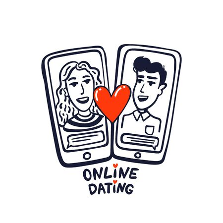 Online dating concept. happy couple on phone screens. Young man and woman searching for love with a Mobile phone application. doodle style vector illustration
