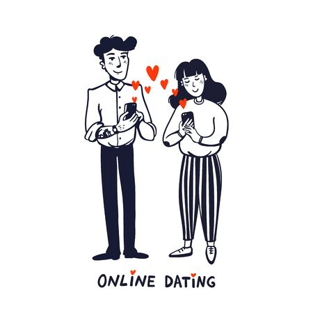 Online dating concept. Young man and woman searching for love with a Mobile phone application. Doodle style vector illustration on white background