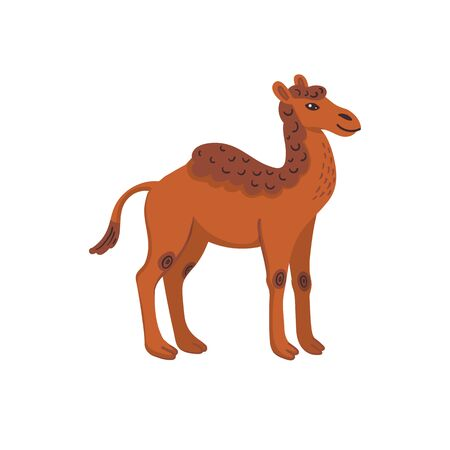 Extinct animals. Camelops, western camel. Prehistoric extinct american one-humped camel. Flat style vector illustration isolated on white background