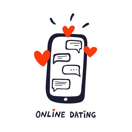 Online dating concept. Dating application logo, mobile phone with chat and hearts. doodle style vector illustration Иллюстрация