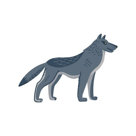 Extinct animals. Dire wolf. Prehistoric extinct american wolfl. Flat style vector illustration isolated on white background