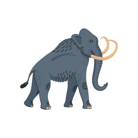 Extinct animals. Columbian mammoth. Prehistoric extinct american elephant Flat style vector illustration isolated on white background Ilustração