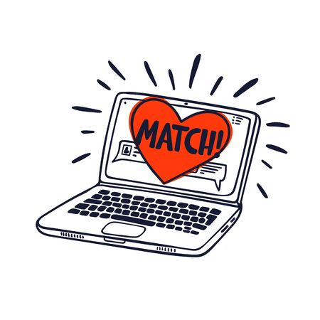 Online dating concept. Laptop with online dating application on the screen. Heart with match inscription on a computer screen. doodle style vector illustration