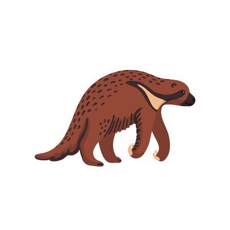 Extinct animals. Megalonyx. Prehistoric extinct north american giant ground sloth, jeffersons sloth. Flat style vector illustration isolated on white background
