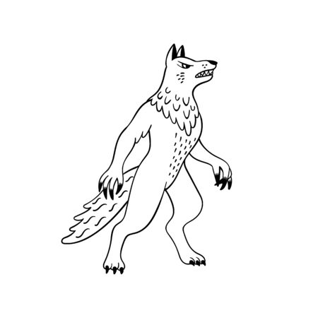 Magical creatures set. Mythological animal - werewolf. Doodle style black and white vector illustration isolated on white background. Tattoo design or coloring page, Line Art Stock Illustratie