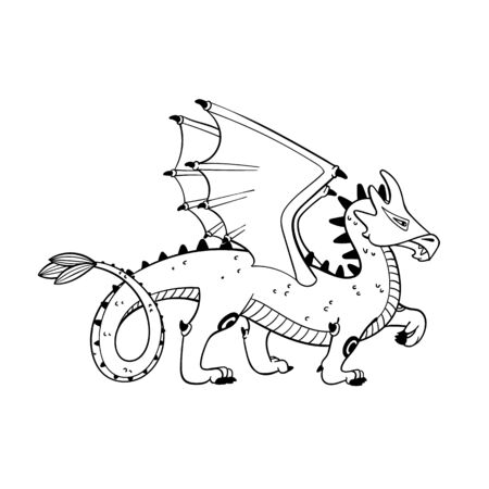 Magical creatures set. Mythological animal - dragon. Doodle style black and white vector illustration isolated on white background. Tattoo design or coloring page, Line Art