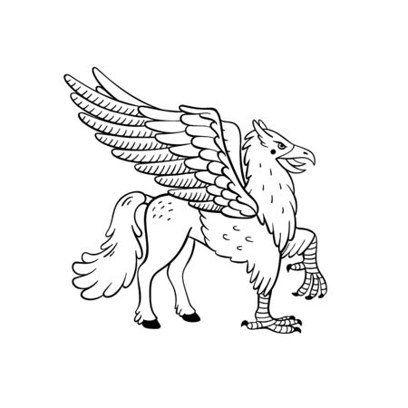 Magical creatures set. Mythological animal - hippogriff. Doodle style black and white vector illustration isolated on white background. Tattoo design or coloring page, Line Art Stock Illustratie