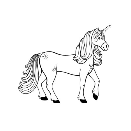Magical creatures set. Mythological animal - unicorn. Doodle style black and white vector illustration isolated on white background. Tattoo design or coloring page, Line Art